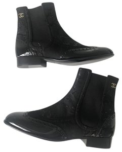 Chanel Cc Lame Fabric Patent Black Boots