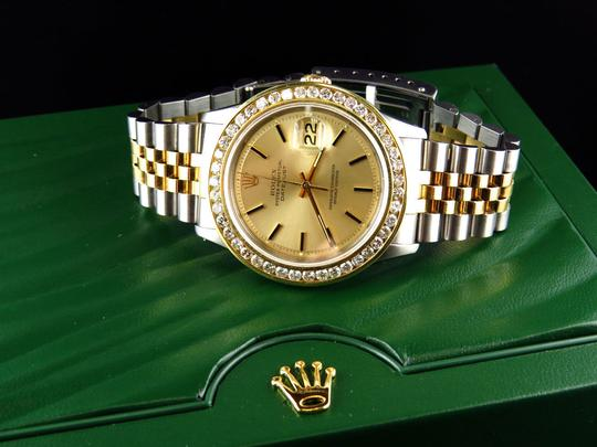 Rolex Mens Datejust Two Tone Oyster 18k / Steel 16013 Diamond Watch 4 Ct Image 1
