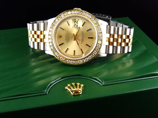 Rolex Mens Datejust Two Tone Oyster 18k / Steel 16013 Diamond Watch 4 Ct Image 3