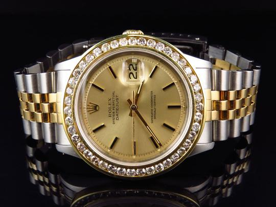 Rolex Mens Datejust Two Tone Oyster 18k / Steel 16013 Diamond Watch 4 Ct Image 5
