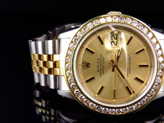 Rolex Mens Datejust Two Tone Oyster 18k / Steel 16013 Diamond Watch 4 Ct Image 6