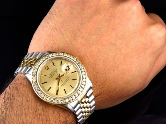 Rolex Mens Datejust Two Tone Oyster 18k / Steel 16013 Diamond Watch 4 Ct Image 7