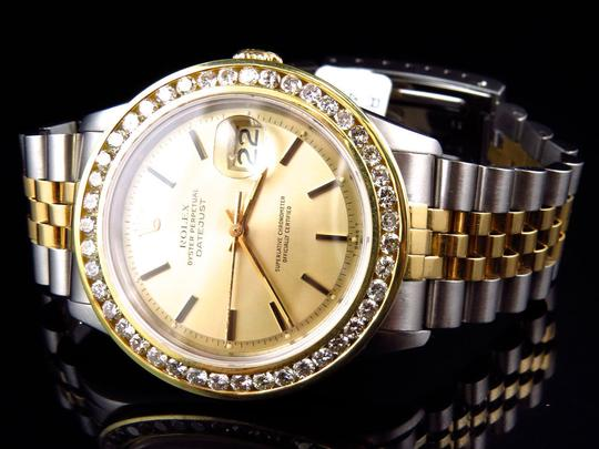 Rolex Mens Datejust Two Tone Oyster 18k / Steel 16013 Diamond Watch 4 Ct Image 8