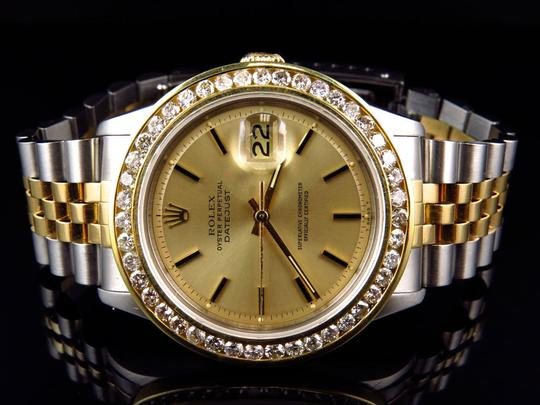 Rolex Mens Datejust Two Tone Oyster 18k / Steel 16013 Diamond Watch 4 Ct Image 9