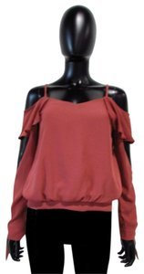 Mustard Seed Ruffle Cold Casual Top Brick Red