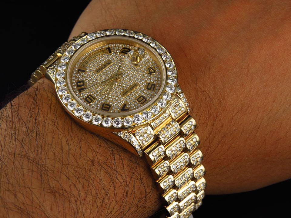 Rolex 18k Yellow Gold Mens Presidential Day,date Diamond Bezel 19 Ct Watch  64% off retail