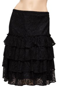 MICHAEL Michael Kors Tiered Lacey Floral Knee Length Skirt Black