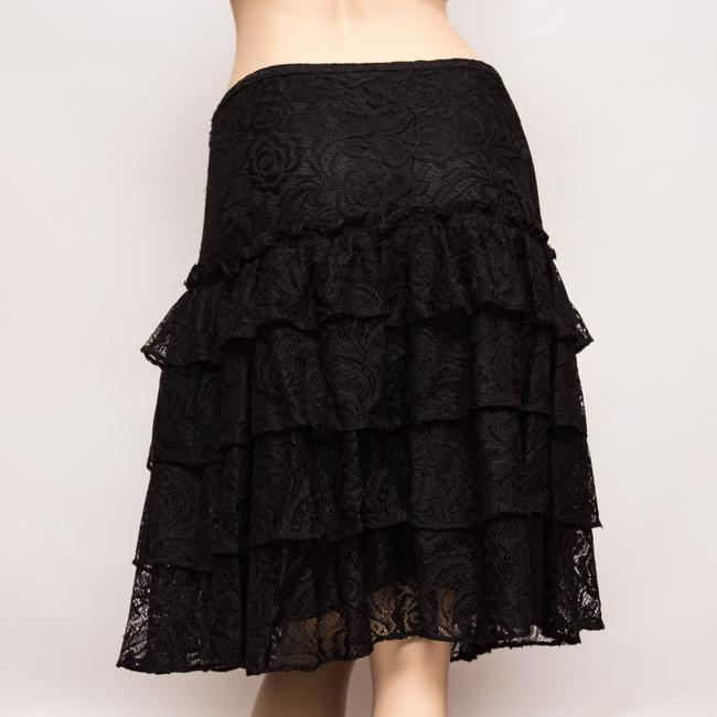 MICHAEL Michael Kors Tiered Lacey Floral Knee Length Skirt Black Image 1