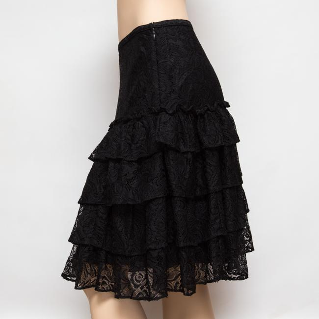 MICHAEL Michael Kors Tiered Lacey Floral Knee Length Skirt Black Image 2