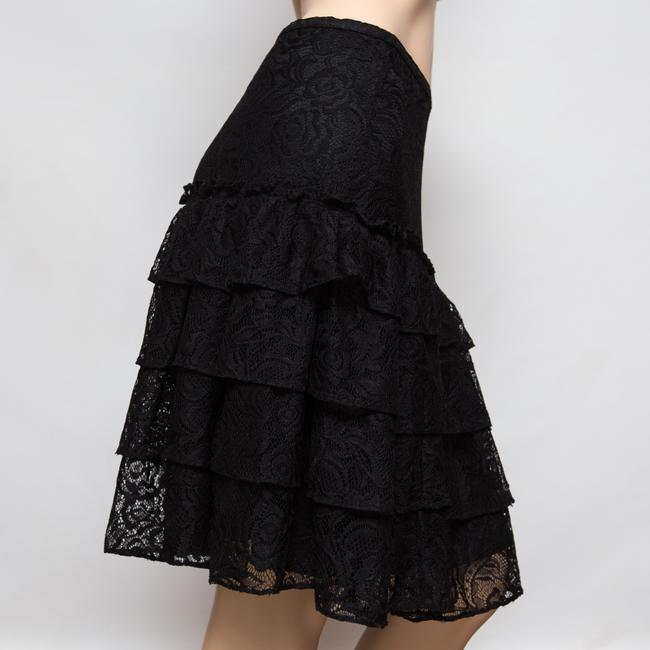 MICHAEL Michael Kors Tiered Lacey Floral Knee Length Skirt Black Image 3