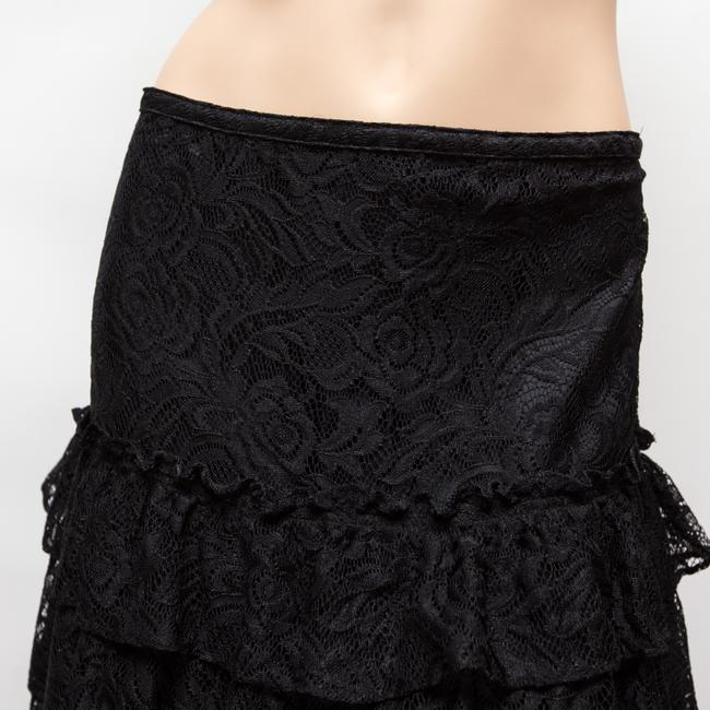 MICHAEL Michael Kors Tiered Lacey Floral Knee Length Skirt Black Image 4