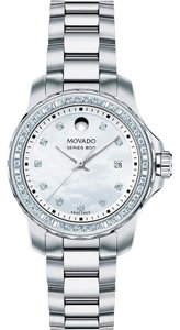 Movado Series 800 White Mother Of Pearl Dial Ladies Diamond Watch