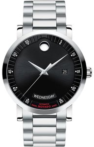 Movado Red Label Automatic Black Dial Stainless Steel Men's Watch