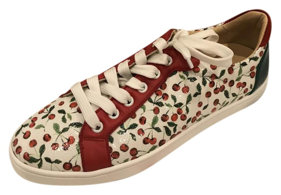 e40f13d2ad2 Christian Louboutin Multicolor Seava Caviar Leather Cherry Print Lace Up  Sneakers 39.5 Sneakers