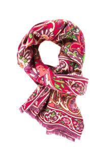 Etro Mauve Wool/Silk Blend Placed Floral Print Fringe Scarf