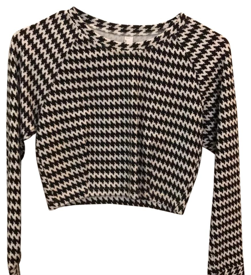 d8bf8357755a American Apparel White Black Houndstooth Rsa0389 Blouse Size Petite ...