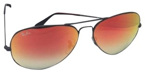 Ray-Ban New RAY-BAN Sunglasses RB 3025 002/4W 55-14 Black Aviator w/Red Mirror