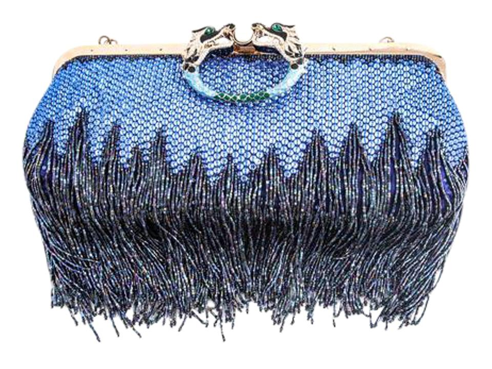09425319317c Gucci Evening * Beaded Fringe Crystal with Dragon Head Closure Shoulder Bag