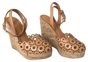 Tory Burch Cork Leather Cut-out Platform Tan Wedges