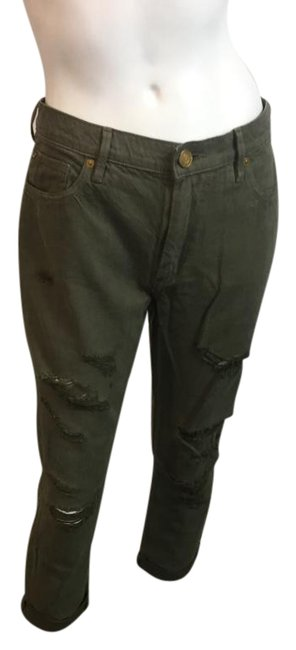 Item - Olive Medium Wash 817174 Green Destroyed Aubrey Slim Boyfriend Skinny Jeans Size 29 (6, M)