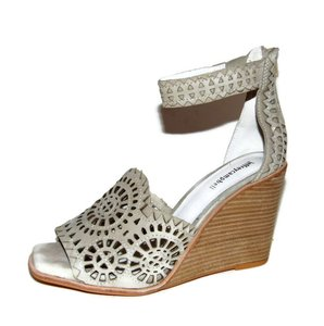 Jeffrey Campbell Beige Laser Cut Wedge Sandals