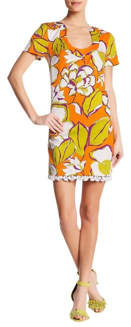 Trina Turk Multi Orange Kumquat Musita Floral Short Cocktail Dress Size 4 (S) Trina Turk Multi Orange Kumquat Musita Floral Short Cocktail Dress Size 4 (S) Image 1