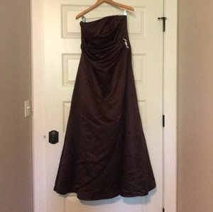 David's Bridal Satin Flattering Brown/Copper Strapless Gown Formal Bridesmaid/Mob Dress Size 12 (L)