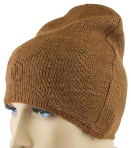 8f979fc294d Gucci Brown Beige Wool Cashmere Woven Beanie Hat w Logo Plate M 352350 2779