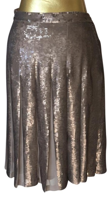 Item - Bronze and Taupe Sequins Pleated Skirt Size 6 (S, 28)