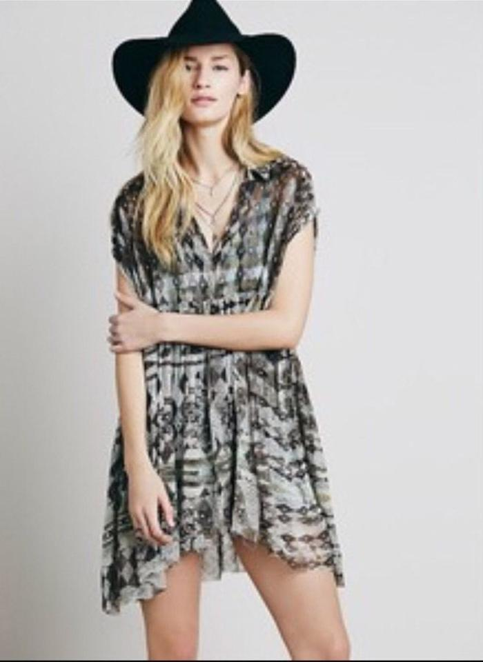 c4df0b707fa725 Free People Charcoal Multicolor Extreme Short Casual Dress Size 8 (M ...