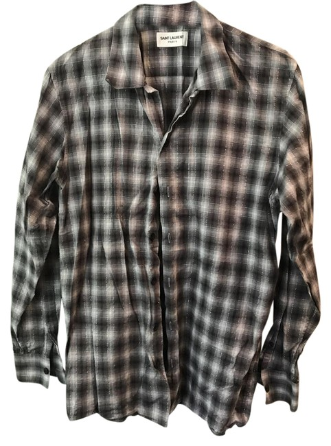 Item - Blue/White Plaid Flannel Button-down Top Size 6 (S)