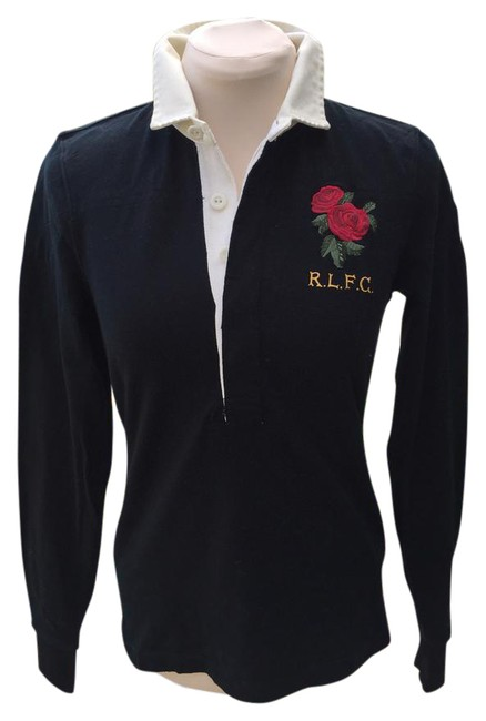 Item - Black / Ivory / Red Rose Polo Button-down Top Size 8 (M)