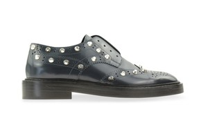 Balenciaga Studded Wing-tip Brogue Details Slip-on Style Made In Italy Blue Flats