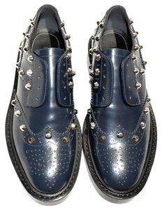Balenciaga Studded Wing-tip Details Slip-on Style Made In Italy Dark Blue (Bleu Obscur) Formal