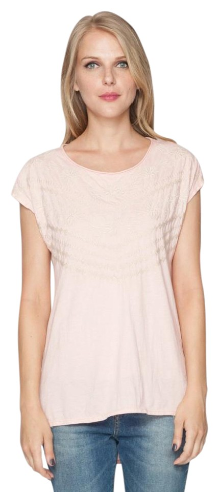 ccbe39184fa Johnny Was Cotton Cap Sleeve Embroidered Scoop Neck High Low Hem T Shirt  light peach Image ...