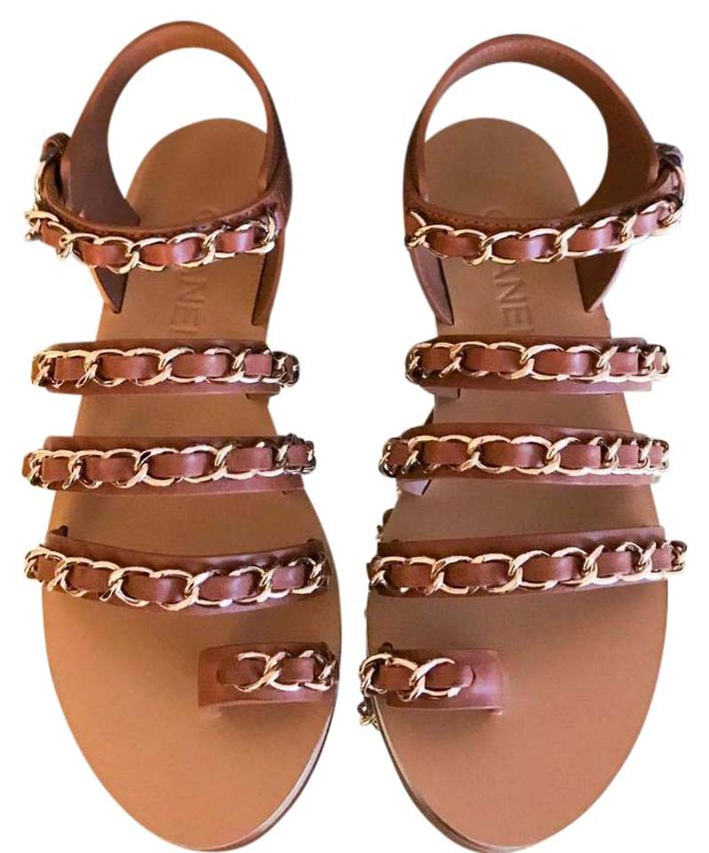 eabb062ba263 Chanel Brown Beige Gold Chain Ss17 Gladiator Sandals Size EU 38 ...