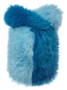 Charlotte Simone Fox Fur Fur Party Blue Clutch