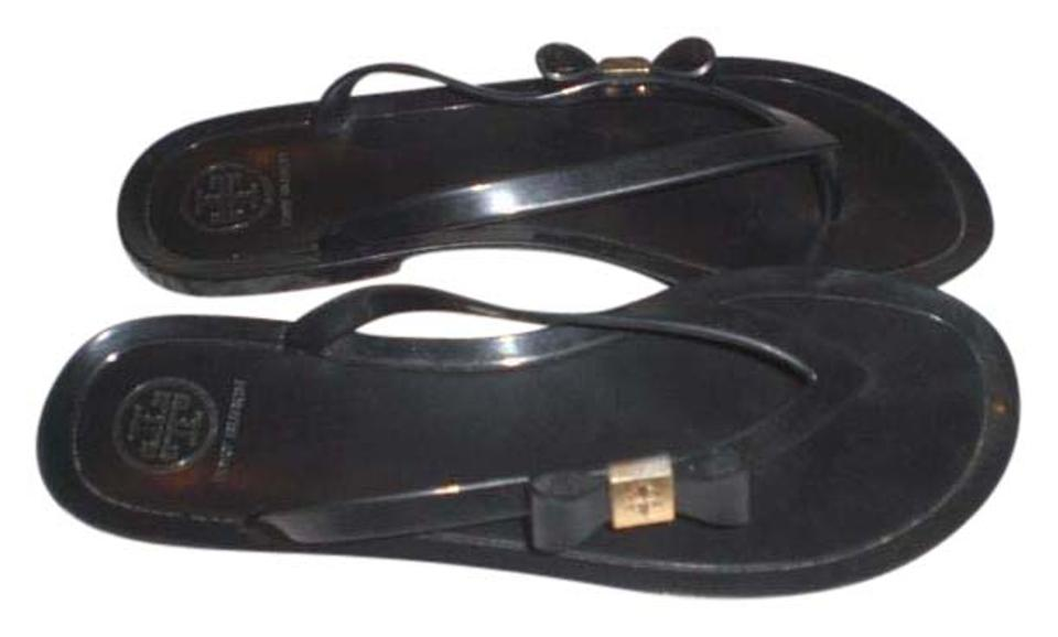 9bde22ebc461f Tory Burch Black Michaela Bow Jelly Tiger Flip Flop Sandals Size US ...
