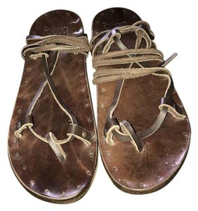 beek Leather Wrap Flat brown Sandals