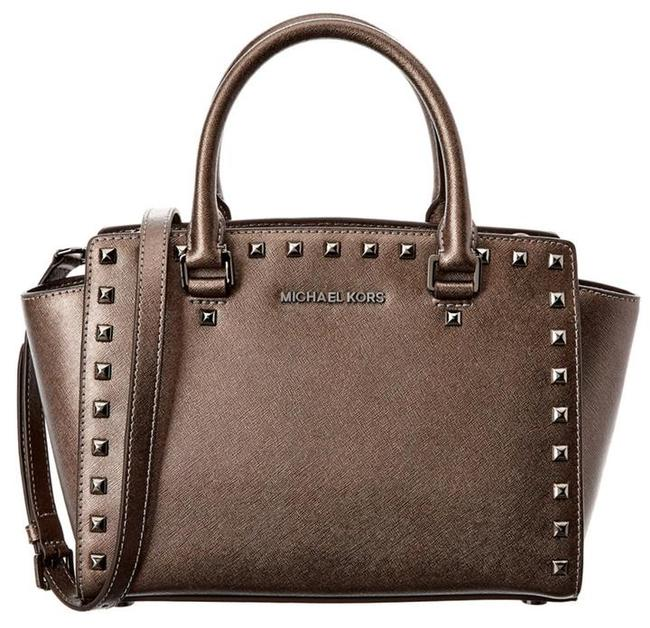 Michael Kors Selma Stud Metallic Top Zip Medium New with Tags Cinder Bronze/Gunmetal Hardware Leather Satchel Michael Kors Selma Stud Metallic Top Zip Medium New with Tags Cinder Bronze/Gunmetal Hardware Leather Satchel Image 1