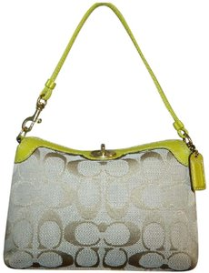 Coach Rare Large Wristlet 2 Way Light Khaki/Lime Green/Gold Clutch