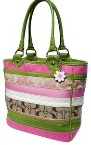 Coach Daisy Hard To Find Bleecker Patchwork Ships Next Day Tote in Pink Green Gold