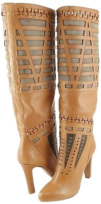 Item - Bettina Natural Leather Suede Designer Knee High Boots
