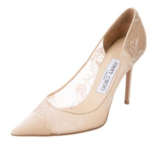 Jimmy Choo Lace Pointed Toe Embroidered Alias Abel Beige Pumps