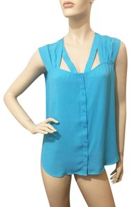 Bellatrix Cutaway Cut Out Button Down Turquoise Top blue