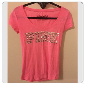 PINK T Shirt Coral/Silver