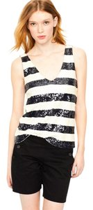J.Crew Sequin Top Navy and White