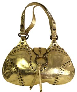 Isabella Fiore Metalic Leather Tote in gold