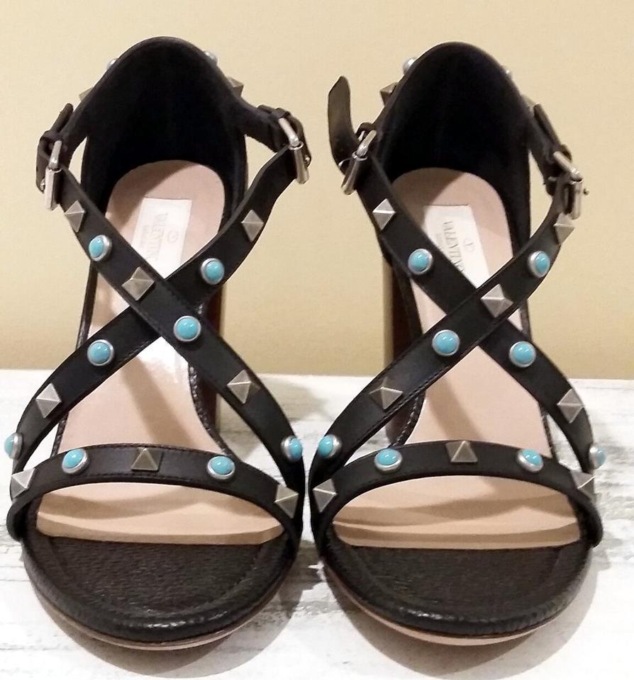 valentino rockstud rolling leather eu39 us 9 black turquoise sandals on sale 33 off. Black Bedroom Furniture Sets. Home Design Ideas