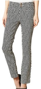 Anthropologie Wear To Work Work Cotton Ankle Trouser Pants Black/White